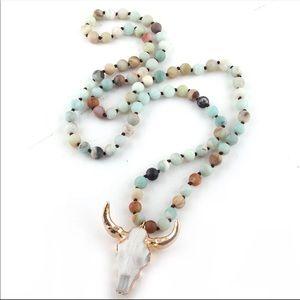 Bohemian amazonite Stone knotted horned pendant